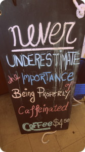 We agreed with this sign at a cafe in Geoffery Bay!